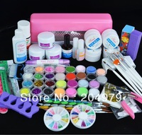 free shipping 2013 new hot sale 9W UV pink dryer lamp 30 color Acrylic Powder Nail Art Kit gel tools polish U035
