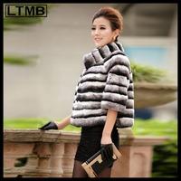 LTMB  Women rex rabbit fur coat mandarin collar half sleeve zebra striped short  mandarin collar  wear for 2014