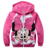 zfy7 minnie mouse kids jackets girls cardigan 2-8 age fleece girls winter coat free shipping 6pcs/ lot