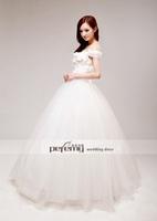 Free Shipping S1318 New Sweet Word Was Thin Shoulder Handmade Flowers Wedding Dress+100%Chiffon