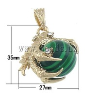 Free shipping!!!Malachite Pendants,sexy,chinese jewelry, with Brass, Animal, with rhinestone, 27x35x20mm, Hole:Approx 7x10mm