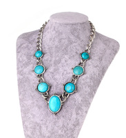 Brand New Free Shipping Women's Turquoise Jewelry, Tibetan Silver Round Turquoise Stone Choker/Collar Necklace