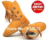 2014 new free shipping  Women lady female winter snow boots shoes girls fashion tie warm flat heels shoes boots