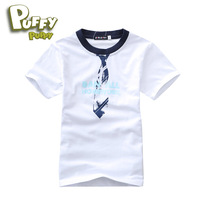 Freeshipping 2013 summer white Children Boy Kids Baby short sleeve T-shirt cotton shirt TOP clotheing 6-15Y  PFXZ01P87