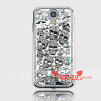 Free shipping Luxury Bling Crystal 3D Skull Heads Cross Hard Silver Plating Case Cover For Samsung S4 I9500