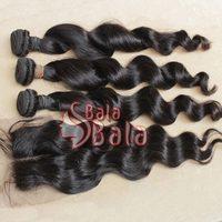mixed hair bundles 3pcs/lot brazilian virgin hair extension loose wave +1pc lace lace top closure 1B color