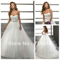 Ball Gown Princess Sweetheart Unique Design Tulle and Lace Wedding Dress 2013 Bridal Gown
