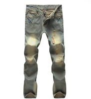 Free shipping 2013 the new denim trousers affixed cloth do old man ripped jeans wear yellow jeans trousers design