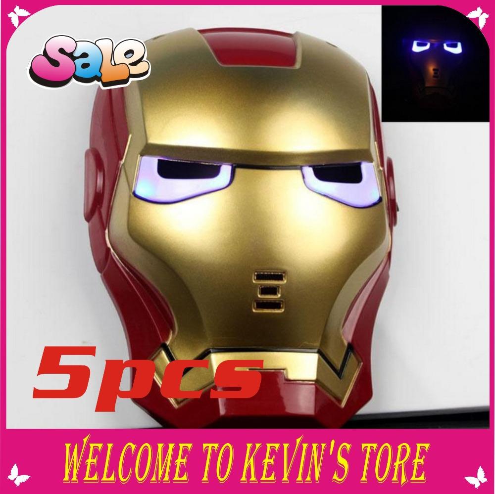 Frete grátis New LED 5pcs Glowing Ferro herói homem Máscara ! Máscara do partido máscara máscara de Halloween(China (Mainland))