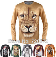 Free Ship Wholesale 8pcs/lot  Animal print t shirt Man clothes Printing Hot 3D Visual Creative Personality T-shirt Cycling shirt