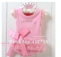 wholesale baby romper infant rompers boy's girl's Wear The lovely princess pink bow lace Romper baby clothes free shipping