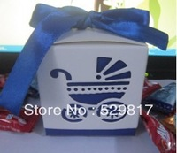 Factory directly sale  blue 100pcs ribbon Wedding favor paper box favour gift candy boxes Best candy box for baby shower&wedding