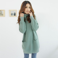 New fashion knitting pockets long sleeve design turtleneck pullover tops outwear sweater Green beige black red Free size 2013