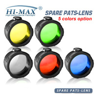 Hot sale  HI-MAX 45mm C8 filter lens glass lens one color from Red/Yellow/Green/Blue/White for Flashlight torch