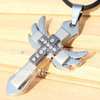 Guaranteed 100%,Angel wings cross necklace,diamante pendant  jewelry,fashion style,wholesale,12pcs/lot,free shipping,QNN1015
