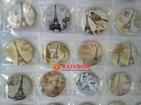 New Arrival! Free Shipping!Wholesale ! 45mm 48pcs/lot The Eiffel Tower tin badge ,fashion pin badge.badge button gift