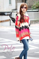 free shipping 5882 woman style Bohemia irregular grid melange bat sleeve loose woman chiffon blouses T-shirt wholesale gorgeous