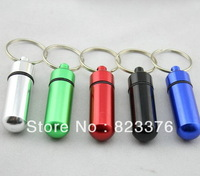 DHL Free shipping 250pcs Travel aluminum alloy Pill Box keyring, Weekly aluminium alloy Medicine Storage Container Case