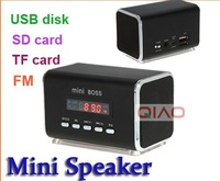 Free Shipping! Portable HIFI Mini Speaker MP3 Player Amplifier Micro SD TF Card USB Disk Computer Speaker with FM Radio