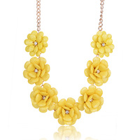 1pc Free Shipping Fashionable Women's Design Faux stone 7pcs BIG Flower Statement Bubble 18GP Necklace Jewelry S8011
