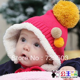 Free shipping 1pcs/lot Fairy knitted baby hat Winter beanie Children Santa hats Cute kids cap Cozy titfer Plus velvet  RA05M20