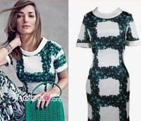 2014 new fashion summer mandarin collar women's dress elegant slim green leaf print one-piece dress