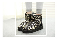 2013 new Boots high-leg platform skeletonsnow boots medium-leg boots female