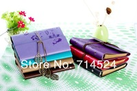 wholesale,8 color 2014Hot PU leather Retro loose-leaf ring binder travel note book