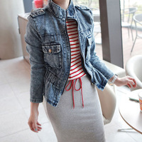 Autumn New High Quality M Retro Court Button Denim Women Outerwear Model Show Women's Short Jackets