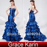 Free Shipping!New!Quality Assurance!Beautiful Design!GK Stock Strapless Taffeta Ball Gown Evening Prom Party Dress Blue Cl4366