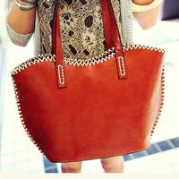 Vintage leather female bag, fashion bag