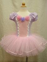Free shipping 2014 latest kids pink+ purple dot dress,baby pettiskirt, tutu dress, girl dress, dancing dress T-Dec12