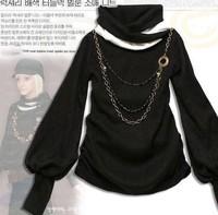 Cotton Lantern Sleeve Women's Shirt Long-sleeved T-shirts Free Shipping Wholesale F4105