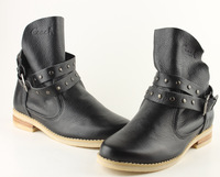 Europe and America  fashion rivet belt comfortable leather punk style limited edition  lady's woman's boots