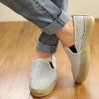 Male pedal color block patchwork canvas shoes lazy fashion sandals gauze cutout vintage cotton-made shoes breathable single