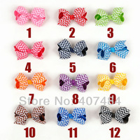 EMS Free shipping Boutique wholesale Chevron hair bows lovely print ribbon bows with clips,280 pcs/lot