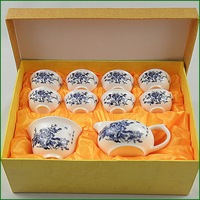 ON Sale Kung fu tea set tureen tea sea ceramic cup blue and white porcelain gift box 126  Chinese tea