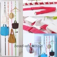 Free Shipping Adjustable Organizer Over Door Hanger Hooks Coat Bag Hat Rack (Min.order $15-can mix order)
