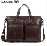 2014 New Leather shoulder bag business handbag  laptop bag document genuine leather man messenger bags Free shipping