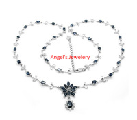 1pcs Free Shipping, Natural Sapphire Necklace with 925 Silver Plated with 18k White Gold,  Lovely Sapphire Necklace Gift
