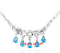 1pcs Free Shipping, Natural Blue Topaz Necklace with Gem Stone ,Lovely Blue Topaz Jewelery Necklace Gift