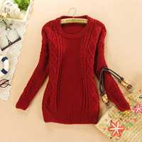 Free\Drop Shipping new 2014 spring rhombus geometric pullover sweater red coolor women high quality knitted sweater 2017