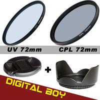 Backpacker's Lover 72mm Camera Filter Kit UV+CPL+Filter Hood+Filter Cap for Digital Camera/SLR Camera