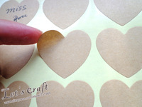 Wholesale Blank Kraft Heart Sticker for Handmade Products, Gift seal sticker 35mm(1200pcs) Free shipping