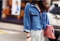 2013 Fall Women Slim Vintage Style Batwing Sleeves Loose Jean Demin Short Coats Blue