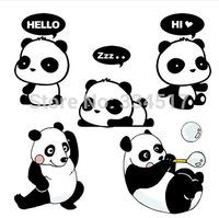 30PCS/LOT Free shipping Removable wall stickers cute cartoon panda Switch Sticker Glass Desktop Laptop Waterproof stickers
