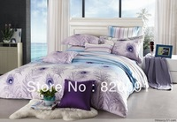 4PCS Full Queen Size Beautiful Peacock Feather Printed Bedding Kit Quilt Cover Set Bedroom Set 100% Cotton Reactive Printing