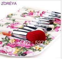Zoreya fashion print bag 12 cosmetic brush set , loose powder brush