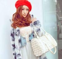 New arrival fashion style women  female big tote bag lady heart-shaped fur satchel shoulder handbag #0145