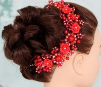 Dress bride hair accessory rose crystal beads hair bands red accessories Bridal Crown noiva
